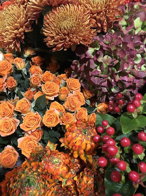 Bouquet d'automne tons orangés - à partir de