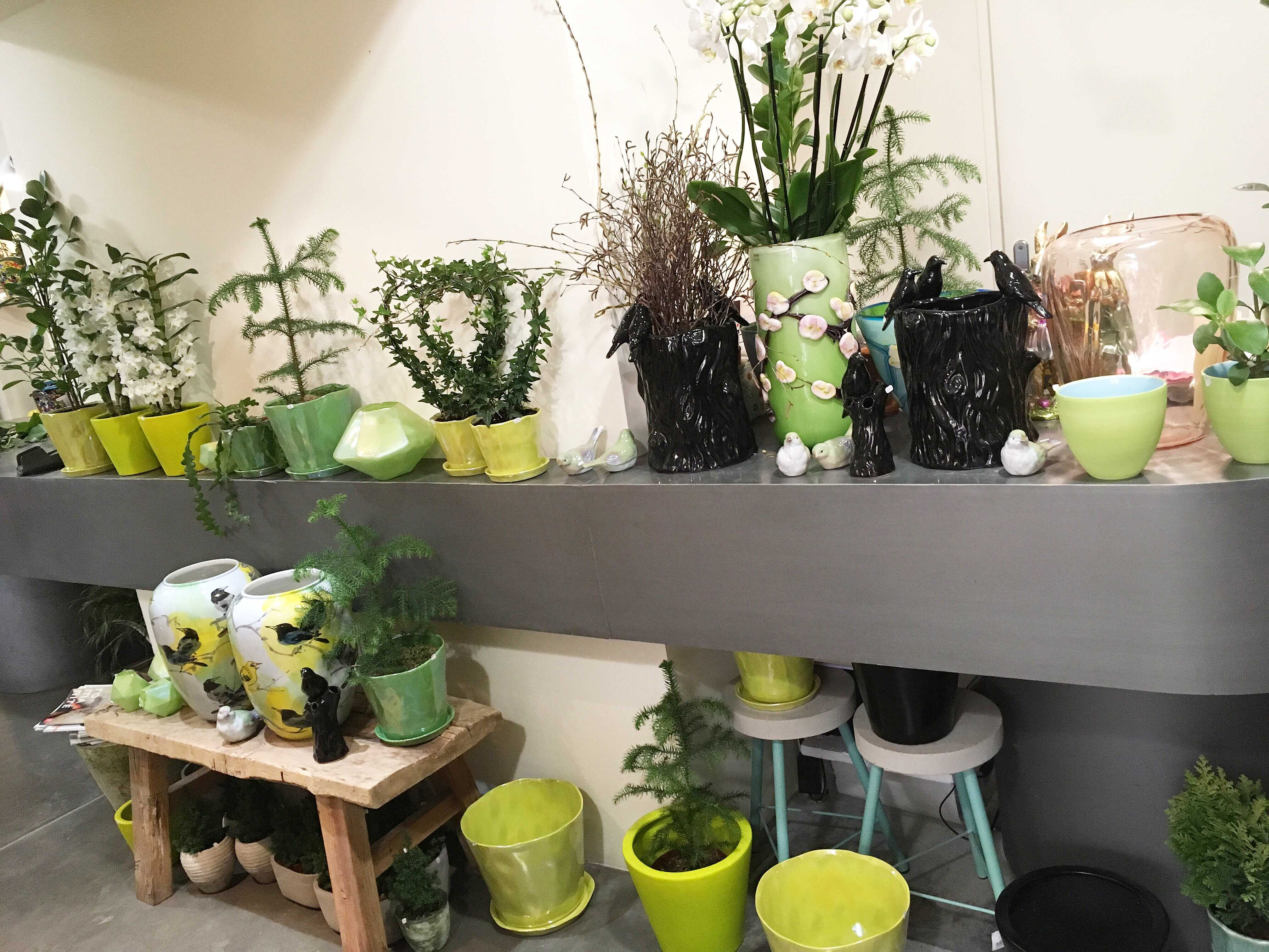 assortiment pots et vases vert Marlies Fleurs fleuriste Nimes