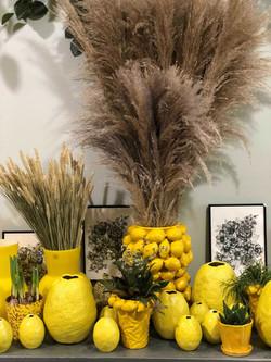 Vases citrons Marlies Fleurs fleuriste Nimes