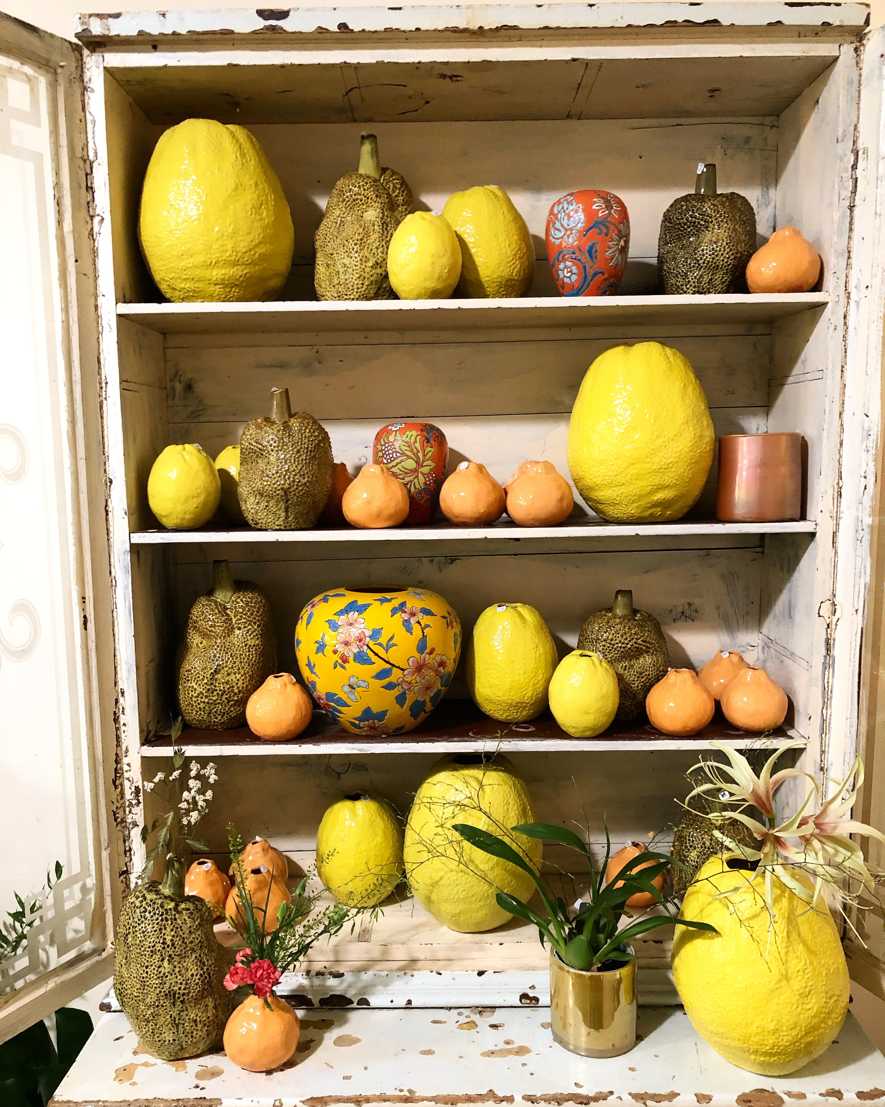 Assortiment vases et poteries citron Marlies Fleurs fleuriste Nimes