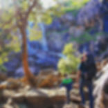 Three explorers hiking at Lesmurdie Fall
