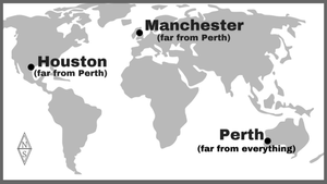 Map showing Manchester, Houston, and Perth.