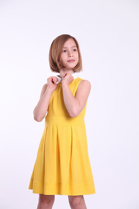 Платье желтое в мелкий горох с воротничком
