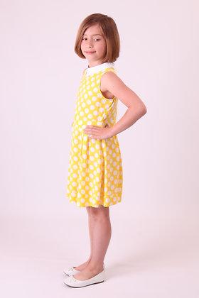 Платье желтое в крупный горох с воротником