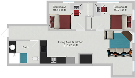 Northstar Dinkytown Apartments Two Bedroom Floor Plan A