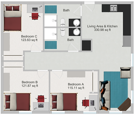 Northstar Dinkytown Apartments Three Bedroom Floor Plan C