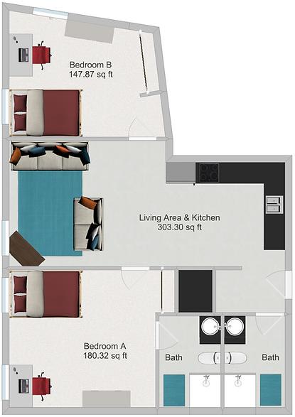 Northstar Dinkytown Apartments Two Bedroom Floor Plan C