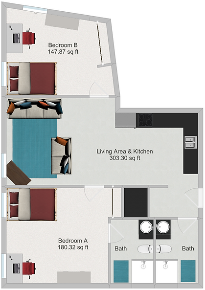 Northstar Dinkytown Apartments Two Bedroom Floor Plan C