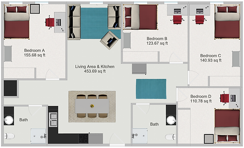 Northstar Dinkytown Apartments Four Bedroom Floor Plan C