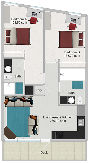 Northstar Dinkytown Apartments Two Bedroom Floor Plan D