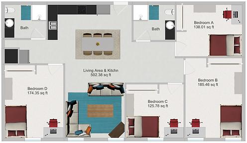 Northstar Dinkytown Apartments Four Bedroom Floor Plan C
