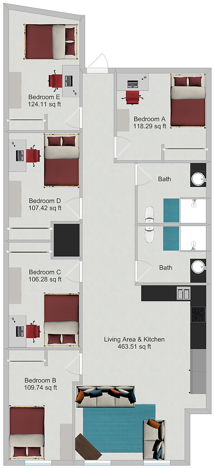 Northstar Dinkytown Apartments Five Bedroom Floor Plan A