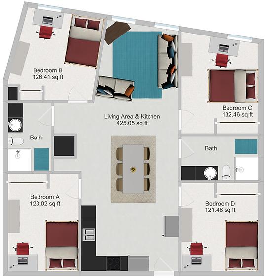 Northstar Dinkytown Apartments Four Bedroom Floor Plan D