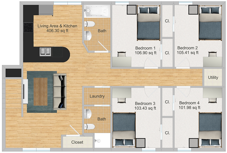 The Cluster Dinkytown Apartments Four Bedroom Floor Plan 202