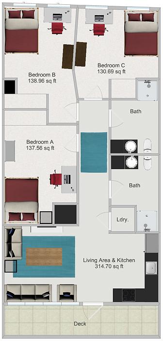 Northstar Dinkytown Apartments Three Bedroom Floor Plan D