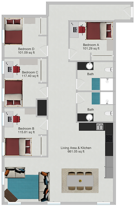 Northstar Dinkytown Apartments Four Bedroom Floor Plan B