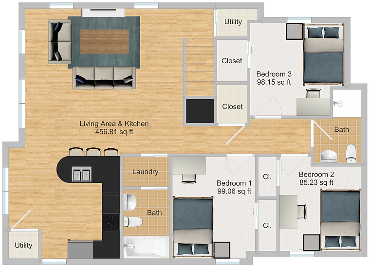 The Cluster Dinkytown Apartments Three Bedroom Floor Plan 200