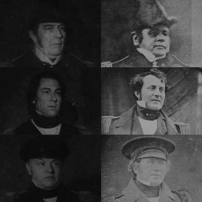 Captains of the Franklin Expedition and their AMC actor counterparts.