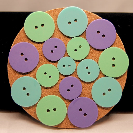 aqua, purple and green button coasters