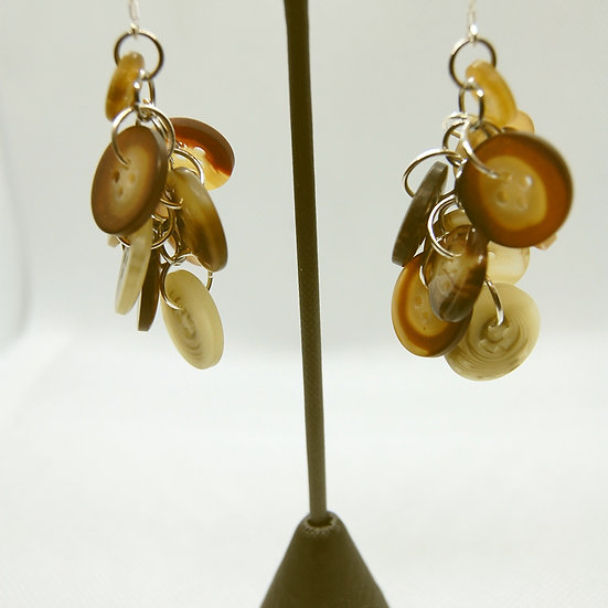 Brown tone button craft earrings