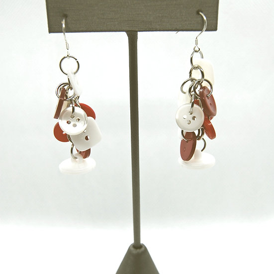 Red and White Button Craft Earrings