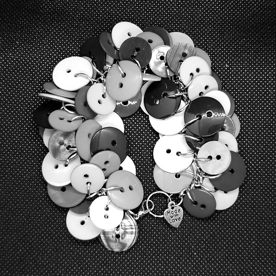 Black and grey toned button craft bracelet