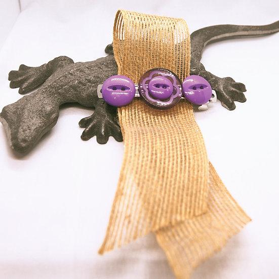 Purple button craft barrette