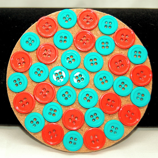 Orange, coral, teal and turquoise button drink coaster