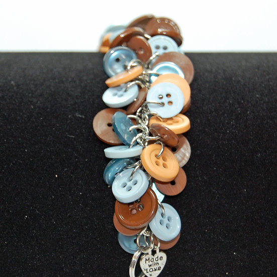 Brown and Blue Tone Button Craft Bracelet