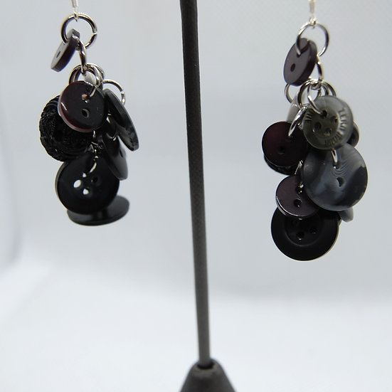 Black Button Dangle Earrings