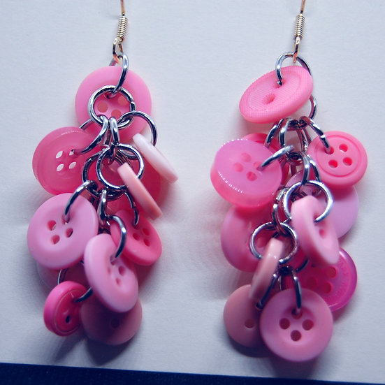 Pink Button Craft Earrings