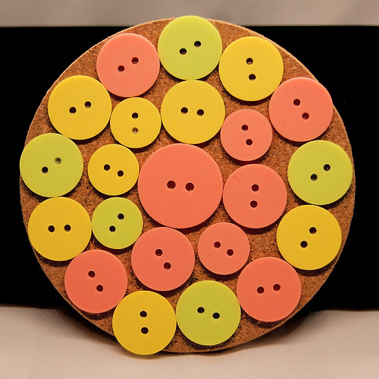 Lime, yellow and pink button craft coaster