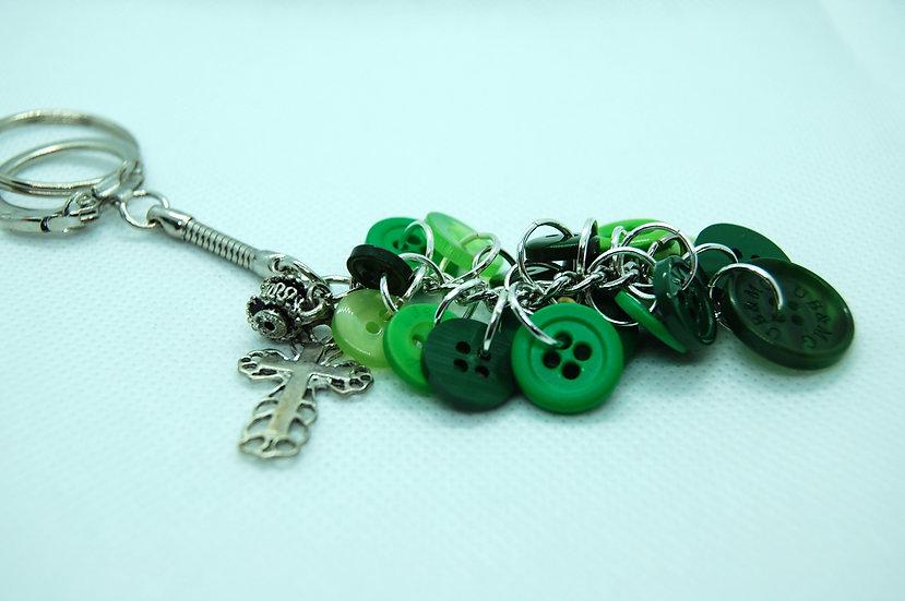 Green button never lose key chain