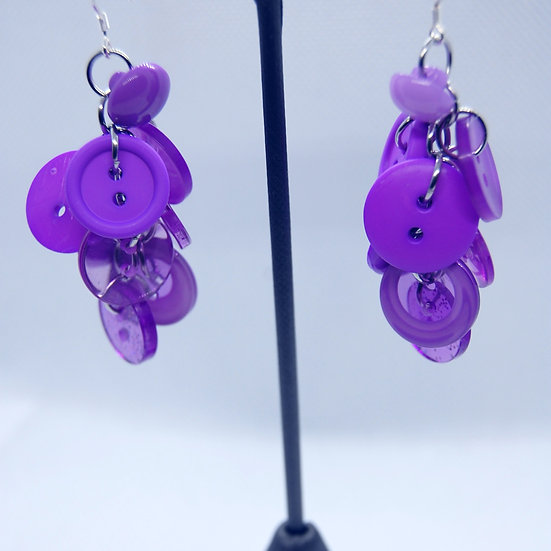 Shades of Purple Button Craft Earrings
