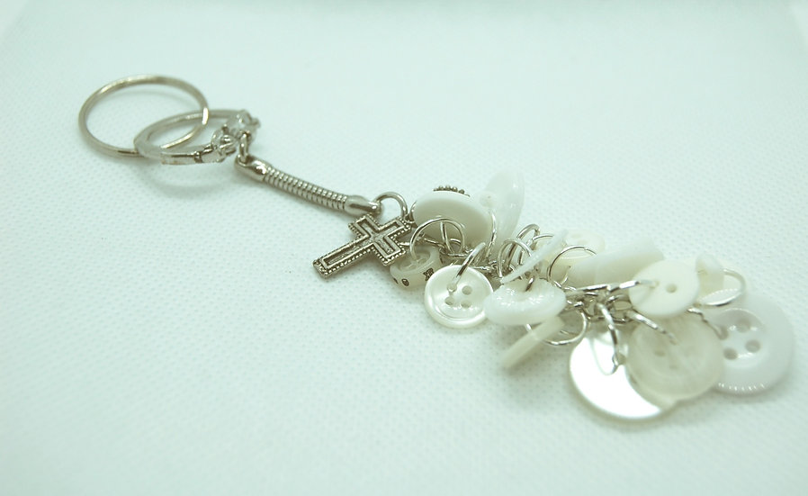 White never lose button keychain