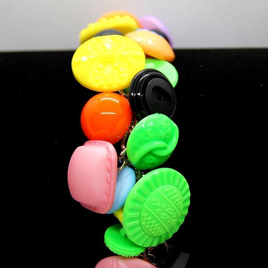 Multi color large button bracelet