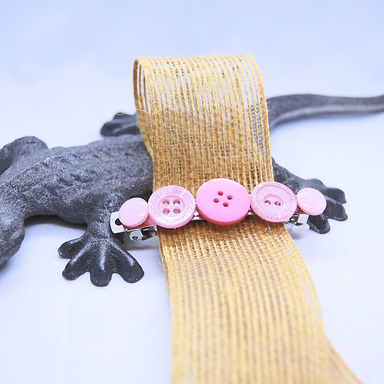 Pink button craft hair barrette