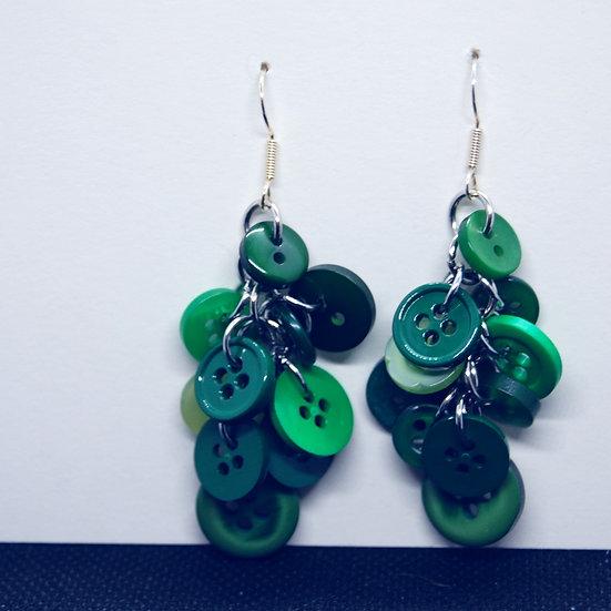 Green Button Dangle Earrings