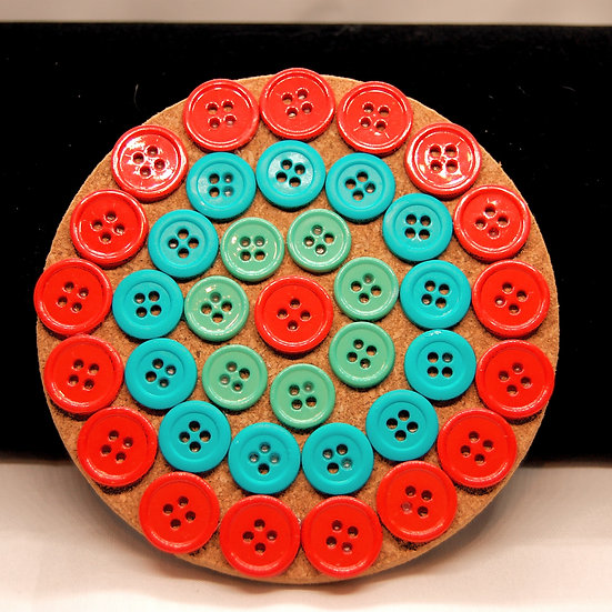 Colorful orange, coral, teal and turquoise drink coaster