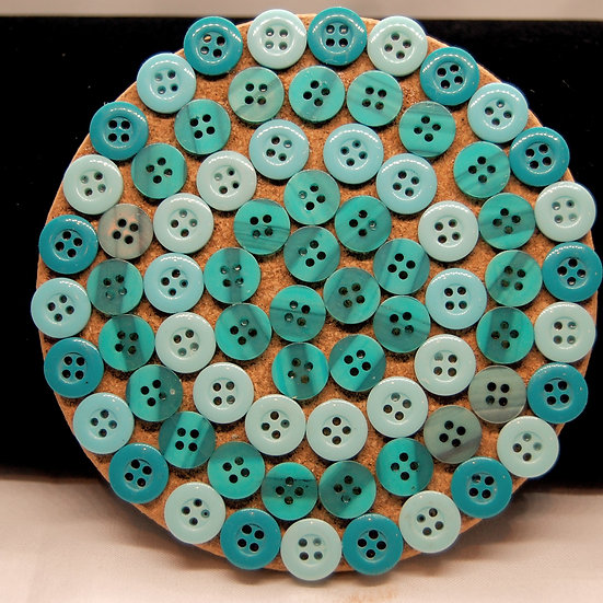 Shades of blue and turquoise button craft coaster