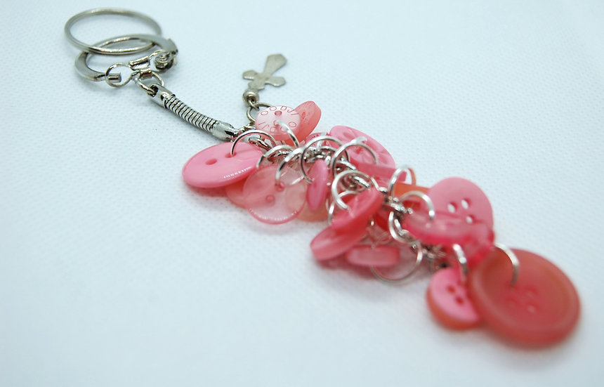 Shades of pink button craft keychain