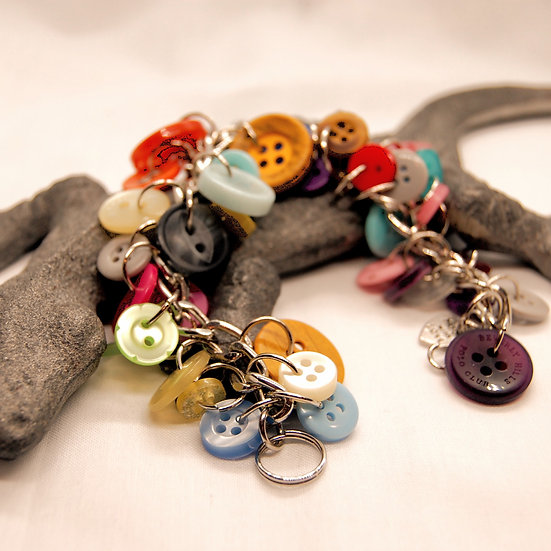 Multi Colored Button Craft Bracelet