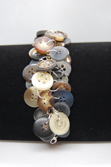 Brown Tone Button Craft Bracelet