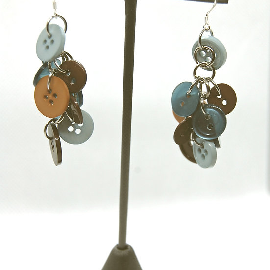 Brown and blue tone button craft earrings