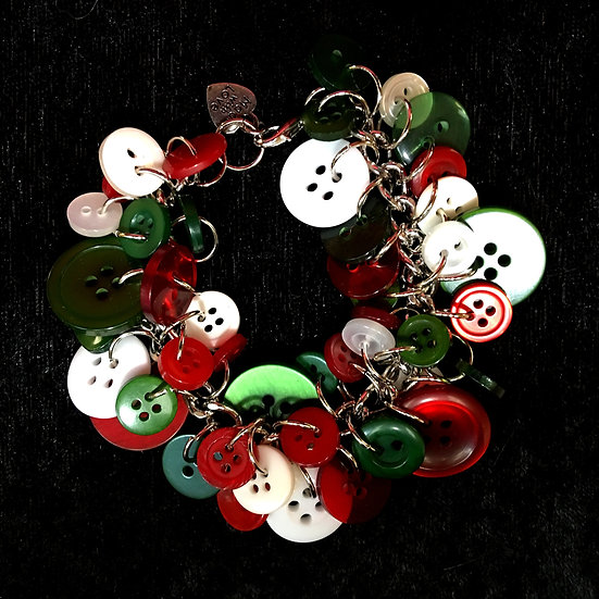 Red White and Green Christmas Button Craft Bracelet