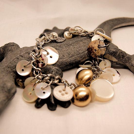 Beige tone pearled button craft bracelet