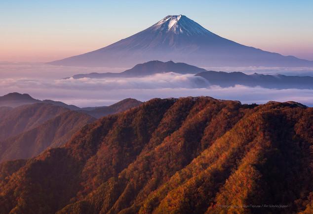 紅葉の山と雲海越しの富士山