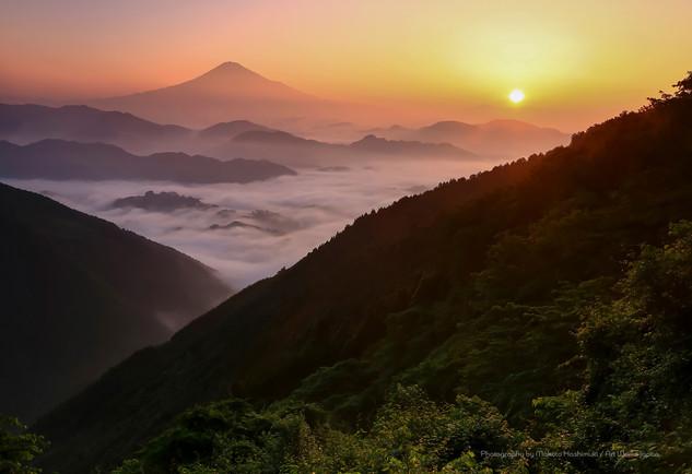日の出と雲海の広がる富士山