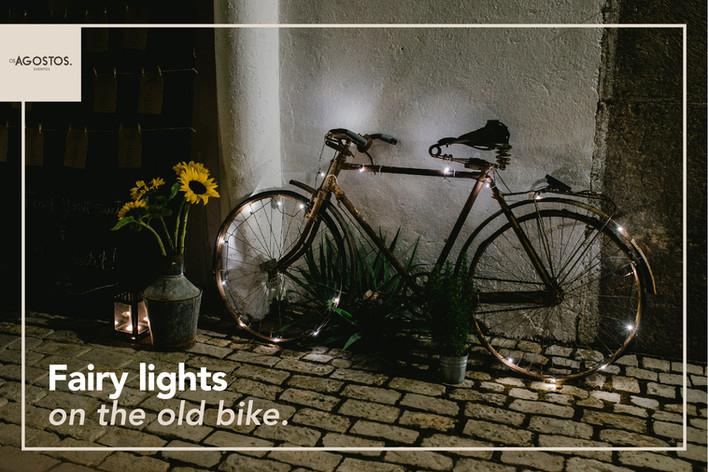 Fairy lights on the old bike. ✨