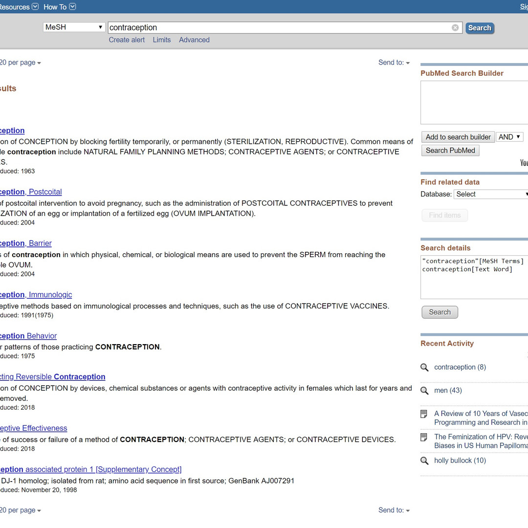 MeSH term search results